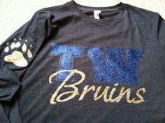 Tri-West tee dark heather grey with blue and gold glitter