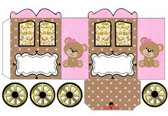 Teddy Bear in Pink: Princess Carriage Shaped Free Printable Box.
