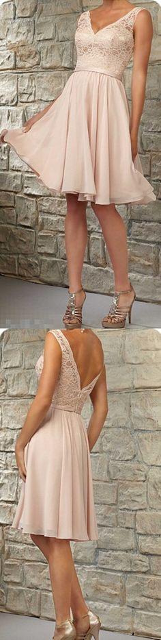 Short lace bridesmaid dresses, Halter bridesmaid dresses, chiffon bridesmaid dresses,See through bridesmaid dress, Custom bridesmaid dresses, 17129