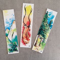Original boorkmarks with watercolor of mountain theme. Creative Bookmarks, Cute Bookmarks, Paper Bookmarks, Bookmark Craft, Watercolor Bookmarks, Watercolor Paintings, Cool Art Drawings, Art Drawings Sketches, Drawing Faces