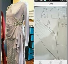 Evening Dress Patterns, Dress Sewing Patterns, Clothing Patterns, Sewing Patterns Free, Kebaya Dress, Lehnga Dress, Sewing Blouses, Couture Sewing, How To Make Clothes
