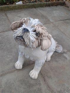 Shihtzu commission. Dog Sculpture, Sculptures, Dog Silhouette, Dog Art, Paper Mache, Statues, Victoria, Throw Pillows, Creative