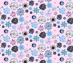 Fabric Ornate Flowers Large Light Blue Background Pink Black Swirly Designs By Nicole Denise On Spoonflower