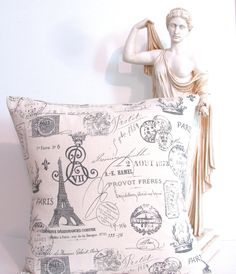 French Script Accent Pillow  Decorative Paris Pillow Cover French Stamp. $20.00, via Etsy.