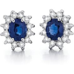 Magnum 14k White Gold 1/2ct TDW Diamond and Sapphire Stud Earrings... ($1,288) ❤ liked on Polyvore featuring jewelry, earrings, blue, white gold diamond earrings, round stud earrings, diamond earrings, butterfly stud earrings and stud earrings