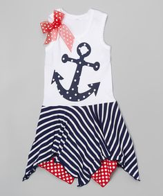 Take a look at this Beary Basics Navy & Red Anchor Handkerchief Dress - Infant, Toddler & Girls today!