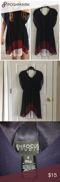 Spotted while shopping on Poshmark: Really cute navy blue, red, & white ombré dress.! #poshmark #fashion #shopping #style #Enfocus studio #Dresses & Skirts