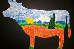 Artsonia Art Museum :: Artwork by Maci28, cow parade, grade 4  do all school with mustages  each grade do a different artist