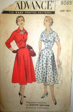 Advance 8065 Vintage Dress Sewing Pattern 1950s by Denisecraft, $15.99