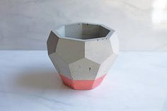 Concrete Geode Pot Geometric Planter 4 Tall