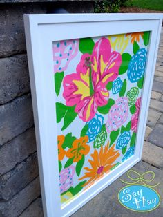 Lilly Pulitzer painting and framed for home decor, nursery, or dorm rooms!