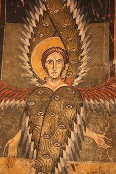 Detail the Apse of Aneu, painted 1090-1120, showing Seraphim with six wings covered with eyes (as mentioned in the Apocalypse of Saint John).MNAC  Barcelona  Catalonia