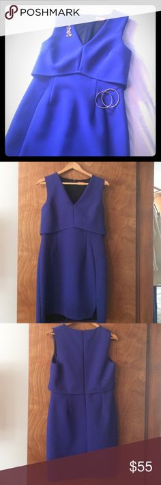 Gorgeous Blue Sheath Dress by Oasis Perfect condition! Worn once for a wedding. Bright blue color, structured fabric, fully lined. 34 inches shoulder to hem. 15 inches across natural waist. US size 8, UK size 14. Last photo is most accurate color example Oasis Dresses