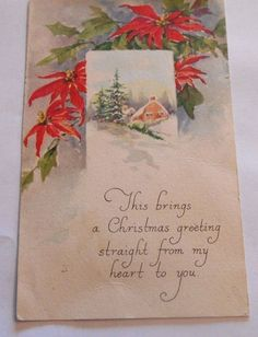 Vintage Postcard Christmas Poinsettias Divided Back Posted 1922 Gibson  4440    #Christmas