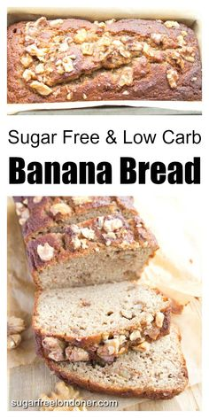 Low Carb Sugar Free Banana Bread Moist and super simple to make: this sugar free banana bread is perfect for breakfast or as an afternoon snack. At net carbs per slice, it is suitable for low carb diets. Gluten free and grain free. Sugar Free Banana Bread, Flours Banana Bread, Sugar Free Chocolate Chips, Banana Bread Recipes, Diabetic Banana Bread, Low Calorie Banana Bread, Super Healthy Banana Bread, Keto Foods, Healthy Low Carb Recipes