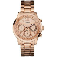 GUESS Rose Gold-Tone Feminine Classic Sport Watch ($135) ❤ liked on Polyvore featuring jewelry, watches, roman numeral watches, guess wrist watch, guess watches, roman numeral jewelry and rose gold tone jewelry