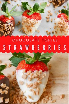 These delicious chocolate and english toffee strawberries are super easy to make with only 4 ingredients! Make these for that special someone, great recipe to get the kiddos in the kitchen or make a sweet treat for yourself! Best Dessert Recipes, Easy Desserts, Holiday Recipes, Delicious Desserts, Valentine Recipes, Dip Recipes, Yummy Recipes, Valentines, Delicious Chocolate