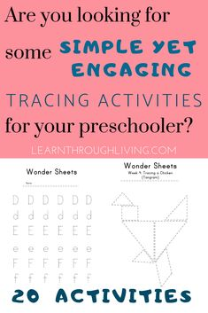The simple design allows for less visual processing, which means more focus on the task at hand.  The Preschool Tracing Wonder Sheets are the most basic, yet still highly engaging activities in the Wonder Sheet Series.  20 Activities: The Alphabet has been broken up into 10 weeks, and there are 10 different tracing activities to teach the other important lines. Shapes, Scenes and even a Tangram (which works with the blocks).