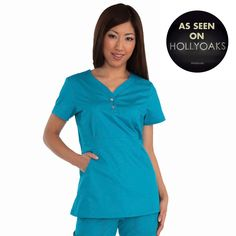 """Longer top from Koi in Turquoise, 26"""" length (size S) 55% cotton/45% polyester soft twill top, Two functioning snap buttons and deep pockets XS-3X  £27.50 #dental #uniforms #nurse #female #scrubs #tunics #top #healthcare #koi #Justine #happythreads"""