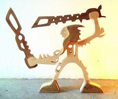 """sculpture bois chantourné """"guerrier deux épées"""" : Sculptures, gravures, statues par 2-5d"""