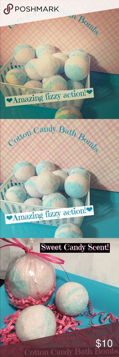 Cotton Candy Bath Bombs 6/$10! This listing is for 6cotton candy bath bombs for$10! #1 Best Seller Scent! These are round ball shaped bath bombs. 3oz each. Makes bath time fun! Sugary sweet cotton candy aroma. Drop in bath watch them fizz! Size comparable to a golf ball but a bit bigger. Vibrant pink and blue colors tint water slight pastel hue. #cottoncandy#skincare#bathbombs#bathtime#handmade#bathbomb#bodyscrub Makeup