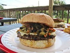 Muffaletta Burger at Hubcap Grill Kemah. More