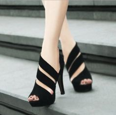 Sexy Concise Black Peep-toe Platform Sandals