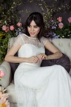 Naomi Neoh ERIN full Chantilly lace wedding dress over-dress worn with EBONY corseted under-dress. www.naomineoh.com