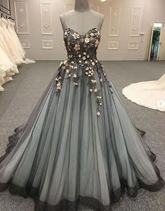 Sweetheart neck black tulle 3D lace appliques long formal prom dresses #promdress