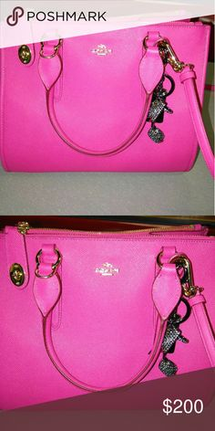 Beautiful pink Coach purse This bag is so cute it's about a small to medium size perfect for everyday use. Only letting it go bc I need a larger size bag. Trade value higher... Coach Bags Shoulder Bags