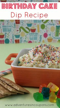 This simply Birthday Cake Dip Recipe is easy to make and makes a great snack or dessert! Whip it up in less than 5 minutes Dip Recipes, Snack Recipes, Dessert Recipes, Cooking Recipes, Cooking Tips, Cake Recipes, Just Desserts, Delicious Desserts, Yummy Food