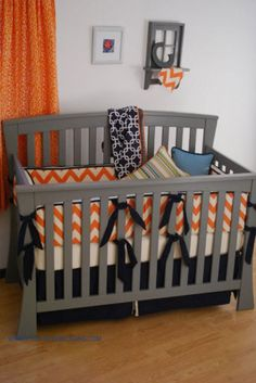 Orange Chevron with navy and aqua fabrics for a modern nursery color combo