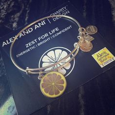 Alex and Ani Zest for Life Bangle in Silver Authentic Alex and Ani Zest for Life charity by design expandable bangle bracelet in Silver. Extremely minor wear that wouldn't even show up in the pictures. I wore this once. Silver and yellow of the lemon charm look excellent. Alex & Ani Jewelry Bracelets