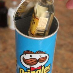 Use a Pringles Tube: Stack Your Booze on the Bottom and Sprinkle the Chips on Top