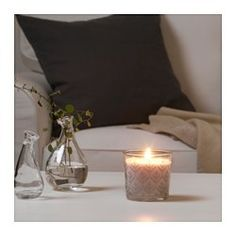 IKEA - VINTER 2016, Scented candle in glass, A forest and pine scent with hints of fresh herbs.The candle has the same beautiful color during its entire burn time, because it is colored through.When the candle has burned itself out the cup can be used as a tealight holder.