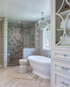 KC: master bathroom design Jacaranda Arabesque-Custom Cut in 2 patterns, X and O, Jacaranda is a blend of Athens Silver Small Master Bathroom, Bathroom Remodel Master, House Bathroom, Home Remodeling, New Homes, House, Luxury Bathroom, Farmhouse Master Bathroom, Bathroom Renovations