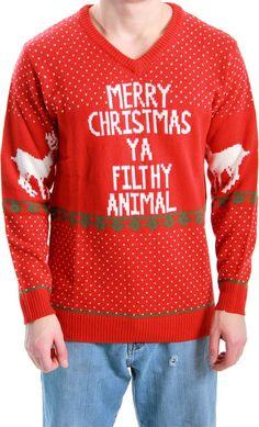 ugly sweater. Merry Christmas Ya Filthy Animal