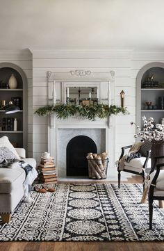 60 Modern Farmhouse Living Room For First Apartment Ideas Decor And Makeover – Home Design Winter Living Room, Cozy Living Rooms, Home Living Room, Living Room Designs, Living Spaces, Coastal Living, Living Room Area Rugs, Fixer Upper Living Room, Country Living