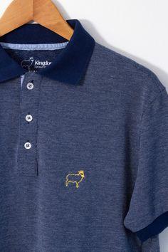 Polo Cordeiro - Azul - Masculino - Camisetas cristãs