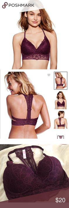 *NWOT* PINK lace push-up bralette New, never worn Victoria's Secret PINK lace push-up racerback bralette size M (A-C) in burgundy / wine color PINK Intimates & Sleepwear Bras