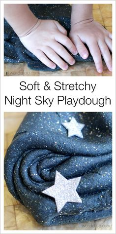 Stretchy Night Sky Playdough - so pretty! (uses black liquid watercolors and gelatin + other regular playdough ingredients)