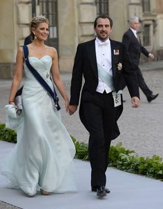 Prince Nikolaos of Greece and his wife Tatiana arrive on June 8, 2013 to Princess Madeleine of Sweden and Christopher O'Neill 's wedding ceremony at the Royal castle in Stockholm.