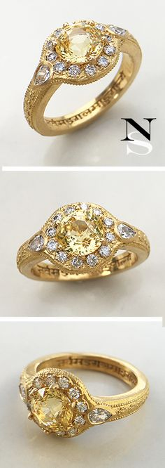 Alternative engagement ring with a stunning yellow sapphire and a Sanskrit engraving by Nala Saraswati.