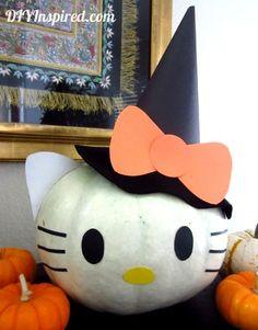 Hello Kitty pumpkin painting idea for halloween