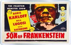 Son of Frankenstein - Boris Karloff - Basil Rathbone - Bela Lugosi - 3 x 2 inches (8 x 5 cm) Fridge  @ niftywarehouse.com #NiftyWarehouse #Frankenstein #Halloween #Horror #HorrorMovies #ClassicHorror #Movies