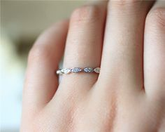 Marquise Style Solid 14K White Gold Natural by JulianStudio