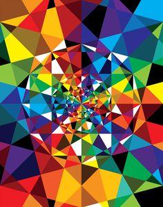 Doordat de verschillende kleuren in een soort spiraal tegen elkaar zijn gezet, zit er heel veel diepte in deze afbeelding