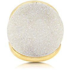 BERRICLE Gold-Tone Round Cut White Druzy Quartz Fashion Right Hand... ($65) ❤ liked on Polyvore featuring jewelry, rings, druzy quartz ring, round cut rings, bezel setting ring, druzy ring and drusy quartz jewelry