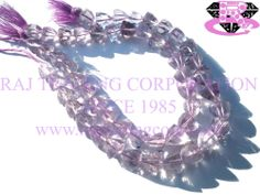 Pink Amethyst Faceted Trillion (Quality AA) Shape: Trillion Faceted Length: 18 cm Weight Approx: 10 to 12 Grms. Size Approx: 7 to 8 mm Price $20.52 Each Strand