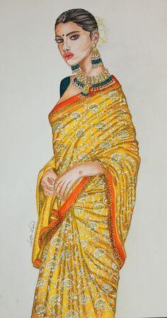 Dress Illustration, Fashion Illustration Dresses, Fashion Illustrations, Drawing Sketches, Sketching, Art Drawings, Fashion Drawing Tutorial, Indian Fashion Dresses, Fashion Painting